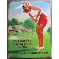 plaque pin up jouant au golf tole pub métal déco loft magasin