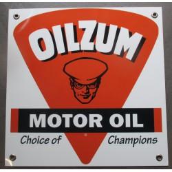 plaque alu oilzum motor oil carré 30x30 tole metal garage huile pompe à essence