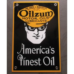 plaque alu oilzum motor oil rect 30x20 noire ole metal garage huile pompe à essence