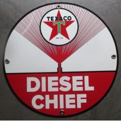 plaque alu texaco diesel chief ronde tole metal garage huile pompe à essence