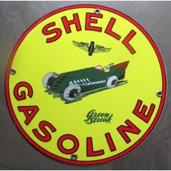 plaque alu shell gasoline avec voiture ancienne tole metal garage huile pompe à essence