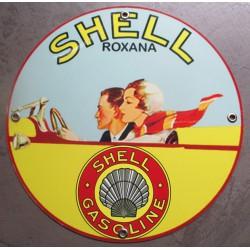 plaque alu shell roxana style rétro ancien tole metal garage huile pompe à essence