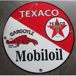 plaque alu texaco et mobiloil  tole metal garage huile pompe à essence