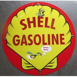 plaque alu shell gasoline beep beep et le coyotte tole metal garage huile pompe à essence
