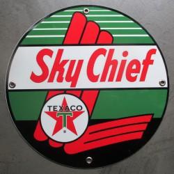 plaque alu texaco sky chief ronde tole metal garage huile pompe à essence