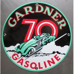plaque alu gardner 70 avec  voiture ancienne tole metal garage huile pompe à essence