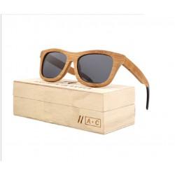 lunette de soleil bois véritable bambou verre fumé noir et son coffret