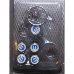 bouchon valve de roue (x4)+ porte cle mopar logo balnc et bleu
