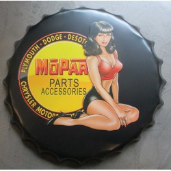 plaque capsule  logo mopar avec pin up a genoux 40cm tole deco bar garage