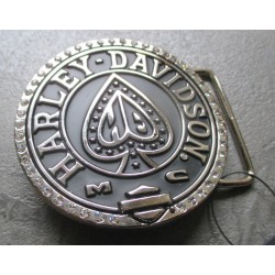 boucle de ceinture harley davidson as de pique noir evec strass usa officiel
