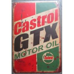 plaque tole  huile castrol GTX aspect vieillit 30x20cm tole pub garage  diner loft