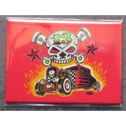 magnet crane et hot rod 9x6.5cm fond rouge vince ray déco usafrigo
