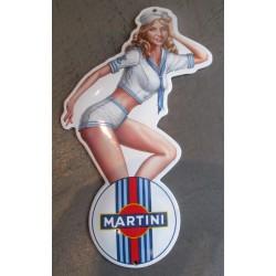 mini plaque emaillée pin up en habit de marin logo coca cola ice cold tole email deco garage