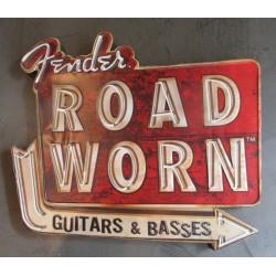 plaque fender road worn épaisse tole  pub metal deco musique guitare ampli