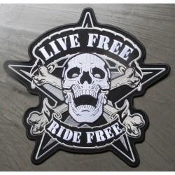 gros patch live free ride free 24 x24 cm écusson dos veste blouson biker crane pirate