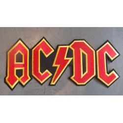 gros patch acdc rouge  groupe hard rock 24.5x10.5 cm écusson dos veste blouson biker crane pirate