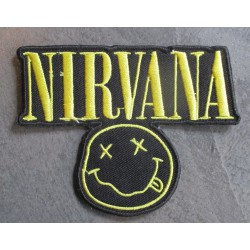 patch taille moyenne groupe pop rock grunge  nirvana  jaune  10x7.5 cm  écusson  thermocollant  veste chemise