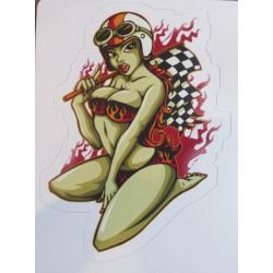 mini sticker pin up  a genoux avec casque moto et sous vetements a flammesautocollant sexy hot style année 50