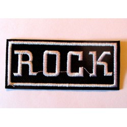 petit patch inscription rock noir blanc 8x3.5 cm  écusson  thermocollant  veste chemise