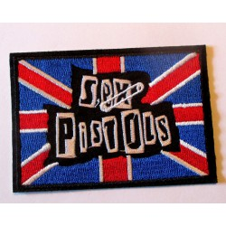 patch sex pistols rectangulaire  union jack 8.5x6cm  écusson  thermocollant  veste chemise