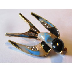 broche hirondelle 3D rockabilly bleu idéal pin up retro vintage