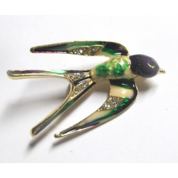 broche hirondelle 3D rockabilly verte idéal pin up retro vintage