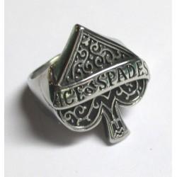 bague as de pique 9us  inscription ace of spades dans la chevaliere