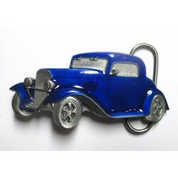 boucle de ceinture  hot rod bleu voiture USA homme femme mixte