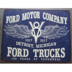 plaque ford motor company vieillit 100 years logo v8 aillé deco tole usa garage