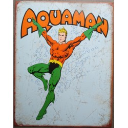 plaque super hero aquaman sur fond bleu tole affiche deco metal usa loft