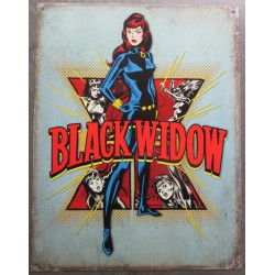 plaque super heroine  black widow  tole affiche deco metal usa loft