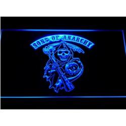 verre publicitaire neon sons of anarchy bleu biker motard 30x22 cm