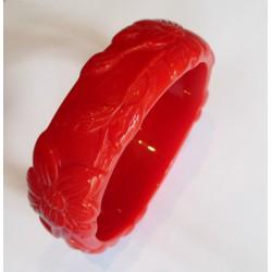 bracelet plastique résine fleur couleur rouge pin up rockabilly hawaii  femme