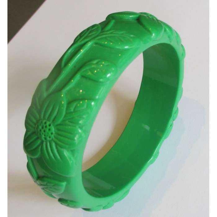 bracelet plastique résine fleur couleur  vert pin up rockabilly hawaii  femme
