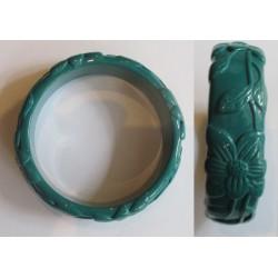 bracelet plastique résine fleur couleur bleu pétrole pin up rockabilly hawaii  femme