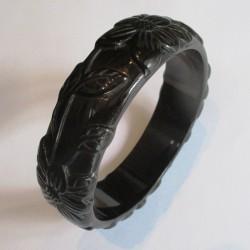 bracelet plastique résine fleur couleur noire pin up rockabilly hawaii  femme