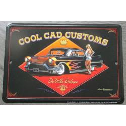 plaque cool cad custom cadillac noire et pin up blonde tole affiche métal