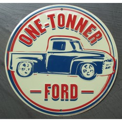 plaque  ford pick up one tonner truck tole ronde 30cm deco garage affiche metal