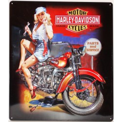 plaque Harley Davidson pin up mécano et sa moto tole  usa deco garage loft