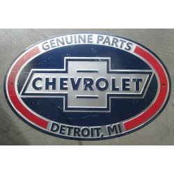 plaque chevrolet parts ovale 44 cm detroit michigan tole metal garage diner loft