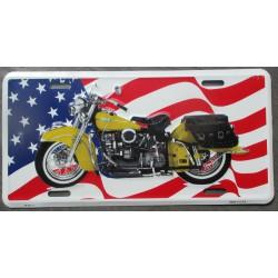 plaque d'immatriculation moto jaune et drapeau des usa flag etat unis tole deco maison fan