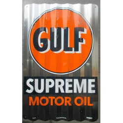 plaques gulf ondulé huile supreme motor oil  45cm pub garage loft diner