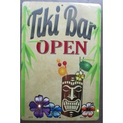 plaque tiki bar open coktail hawaii  usa tole affiche déco metal pub