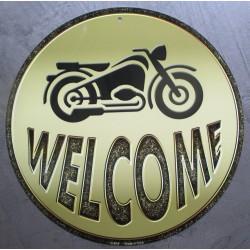 plaque  welcome biker avec une moto tole  ronde 30cm affiche déco metal pub