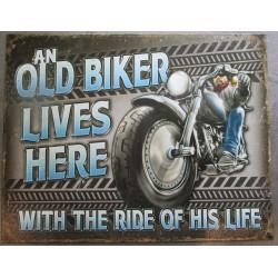 plaque old biker lives here fan moto affiche déco metal pub 41x32cm