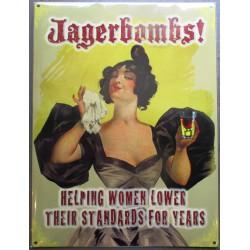 plaque jagerbombs  affiche tole femme style année 30 déco metal pub 41x32cm