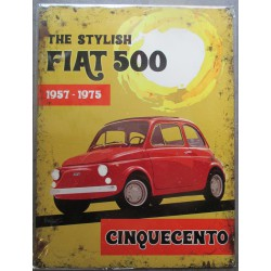 plaque the stylish fiat 500 affiche tole déco metal pub garage 40x30
