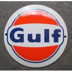 mini plaque emaillée gulf ronde 12cm orange blanche motor oil deco garage huile