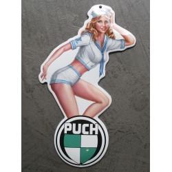 mini plaque emaillée pin up en habit de marin logo moto puch tole email deco garage