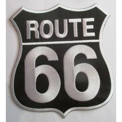 gros patch route 66 blason noir et blanc 20x18.5 cm écusson dos veste blouson biker  fan usa